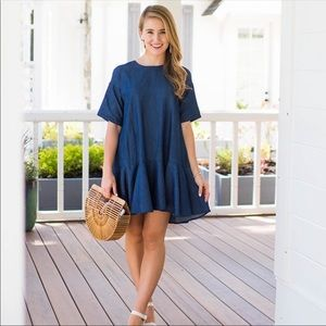 French Connection Arrow Crepe Chambray Dress Sz 0